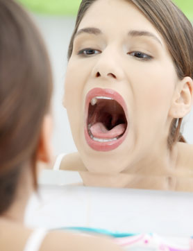 Womans mouth open